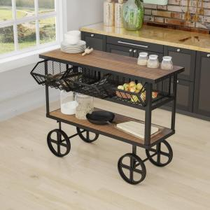 Yosemite Home Decor Mango Wood Kitchen Cart With Drawers by