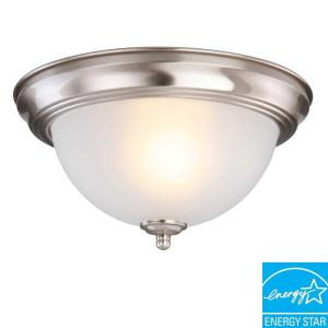 Commercial Electric 1-Light Brushed Nickel Flush Mount