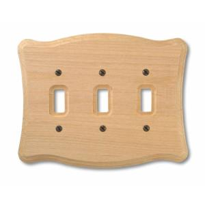 Amerelle 3 Toggle Wall Plate - Un-Finished Wood