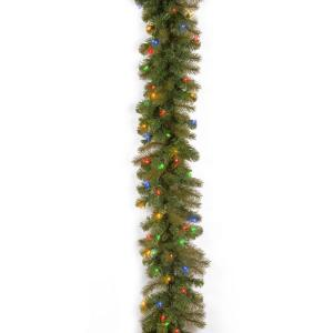 Home Accents Holiday 9 ft.Pre-Lit Down Swept Douglas Garland with Multi Lights