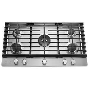 KitchenAid 36 inch Gas Cooktop in Stainless Steel with 5 Burners including a Professional Dual Tier Burner and a Simmer...