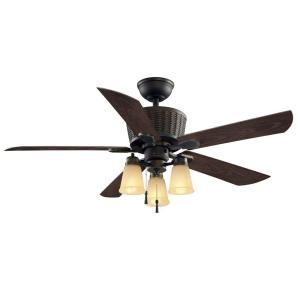 Hampton Bay Coleburn 52 in. Indoor or Outdoor Oil-Rubbed Bronze Ceiling Fan