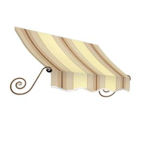 AWNTECH 4 ft. Charleston Window Awning (44 in. H x 24 in. D) in Gray/Cream/Black Stripe