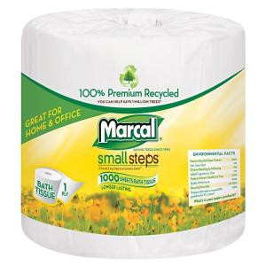 Marcal 4.1 inch x 3.7 inch Sheet White Bath Tissue 1-Ply (40 Rolls) by Marcal