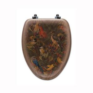 Berry Bush Songbirds Elongated Closed Front Wood Toilet Seat in Oak Brown