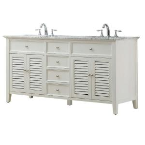 Direct vanity sink Shutter 70 inch Double Vanity in Pearl White with Marble Vanity Top in... by