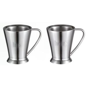 Visol Columbia Double Walled Stainless Steel Set of His and Hers Coffee Mugs by Visol