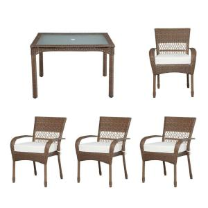 Martha Stewart Living Charlottetown Brown All Weather Wicker 5 Piece Patio Dining Set With