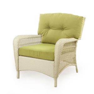 Martha Stewart Living Charlottetown Seashell All Weather Wicker Patio Lounge Chair With Green