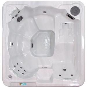 QCA Spas Gibraltar 6-Person 30-Jet Lounger Spa 4.2 HP BT Pump with FREE ULTIMATE ENERGY SAVER PACKAGE in Silver Marble