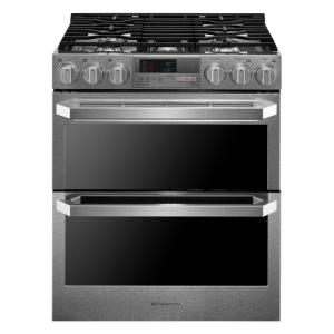 LG SIGNATURE 7.3 cu. ft. Slide-In Double Oven Electric Range with ProBake Convection and EasyClean in Stainless Steel by