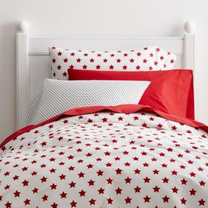 Stars Clic Red Geometric Cotton Percale Twin Duvet Cover