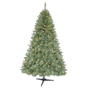 Home Accents Holiday 6.5 ft. Pre-Lit Aster Pine Christmas Tree with Clear Lights