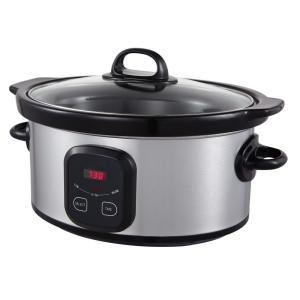 5 qt. Oval Digital Slow Cooker in Stainless Steel