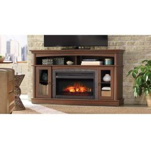 Home Decorators Collection Rinehart 59 In Media Console Infrared Electric Fireplace In Medium