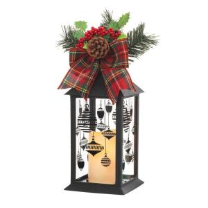 Click here to buy Home Accents Holiday 13 inch Black Plastic Lantern with Outdoor Resin Timer Candle by Home Accents Holiday.
