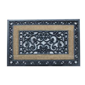 A1HC First Impression Sterling 23 inch x 35 inch Rubber and Coir Door Mat by