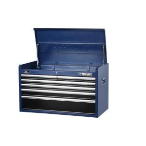 Husky 36 in. 6-Drawer Tool Chest, Blue Body and Black Drawer