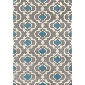 Moroccan Trellis Contemporary Gray/Blue 7 ft. 10 inch x 10 ft. 2 inch Indoor Area Rug by