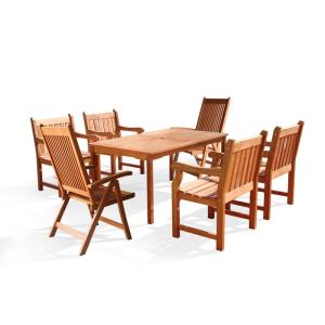 Vifah Roch Eucalyptus 7-Piece Patio Dining Set with 4 Slat-Back Armchairs and 2 Reclining Chairs by