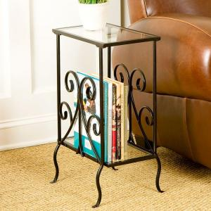 Home Decorators Collection Black Metal Magazine End Table by
