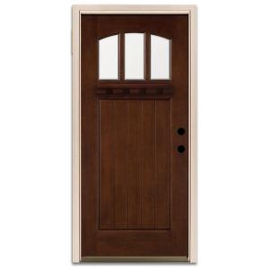 Steves Sons Craftsman 3 Lite Prefinished Mahogany Wood Prehung Front Door Discontinued