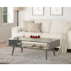 Acme Furniture Boyd Clear Glass and Gray Coffee Table by