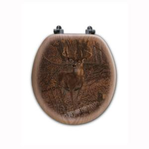 Great Eight by Micheal Sieve Round Closed Front Wood Toilet Seat in Oak Brown