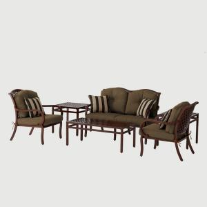 Hampton Bay Morgan Classic 6 Pc. Patio Seating Set with Sunbrella Canvas Teak Cushions-DISCONTINUED