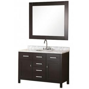 Design Element London 48 in. Vanity in Espresso with Marble Vanity Top in Carrera White and Mirror