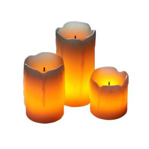 2 in. Cream Candle Impressions Mini-Melted LED Candle (3-Pack)