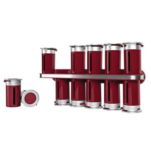 Zevro Zero Gravity 12-Canister Wall-Mount Magnetic Spice Rack in Red/Silver by Zevro
