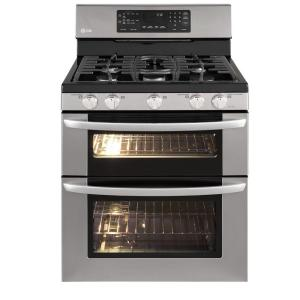 LG Electronics 6.1 cu. ft. Double Oven Gas Range with Self-Cleaning Oven and Convection in Stainless Steel