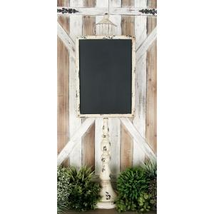 45 inch Rustic Wooden Chalkboard with White Iron Stand by