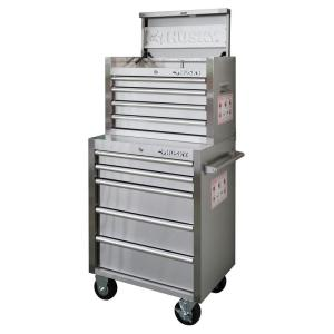 Husky 26 in. 9-Drawer Stainless Steel Tool Chest and Cabinet Set-DISCONTINUED