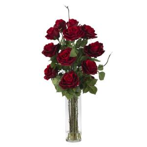 Nearly Natural 27.0 in. H Red Roses with Cylinder Vase Silk Flower Arrangement
