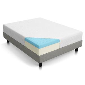 Lucid 10 inch Queen Plush Memory Foam Mattress - Dual-Layered by