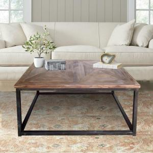 Industrial Reclaimed Wood Square Coffee Table by