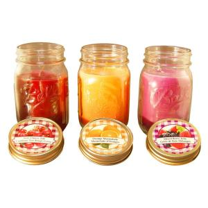 Lumabase Jams and Jelly Collection 12 oz. Mason Jar Scented Candles (3-Pack) by
