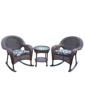 Oakland Living Resin 3-Piece Wicker Patio Rocker Set with Black Floral Cushions by