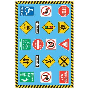 LA Rug Inc. Fun Time Traffic Signs Multi Colored 51 in. x 78 in. Area Rug-DISCONTINUED