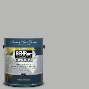 BEHR Premium Plus Ultra 1-Gal. Home Decorators Collection Sonic Silver Satin Enamel Interior Paint
