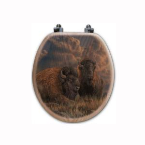 Distant Thunder Bison Round Closed Front Wood Toilet Seat in Oak Brown