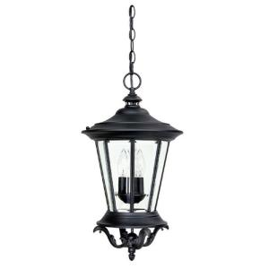Filament Design 3-Light 21 in. Outdoor Hanging Fixture Black Finish Clear Glass