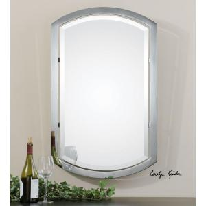 polished chrome metal framed mirror