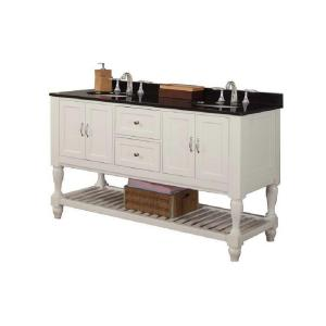Direct vanity sink Mission Turnleg 60 inch Double Vanity in Pearl White with Granite... by