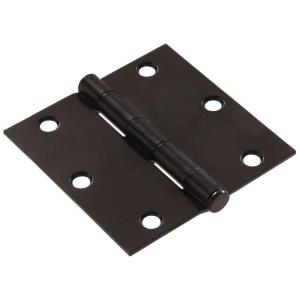 The Hillman Group 3-1/2 inch Black Residential Door Hinge with Square Corner... by The Hillman Group