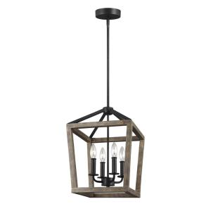 Feiss Gannet 4-Light Weathered Oak Wood and Antique Forged ...