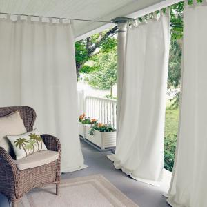 Semi-Opaque Matine White Indoor/Outdoor Window Curtain Panel - 52 inch W x 108 inch L by