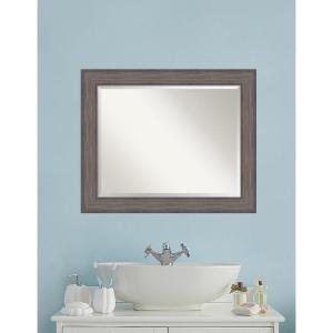 Amanti Art Country Barnwood Wood 34 inch W x 28 inch H Distressed Bathroom Vanity Mirror by